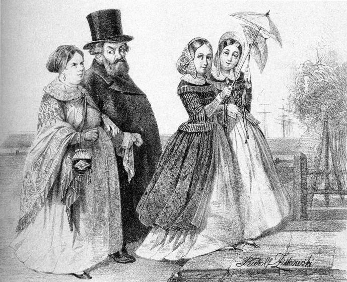 """""""Гостиный двор"""". Литография Р. К. Жуковского. 1843."""