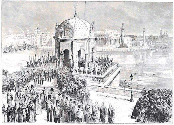 Иордань на Неве в Санкт-Петербурге на праздник Крещения в 1874 году