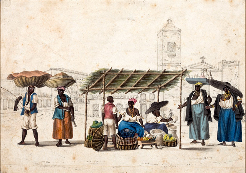 Уличные торговцы в Рио. Акварель Генри Чемберлена. Около 1819-1820 гг. Национальный музей искусств Сан-Паулу