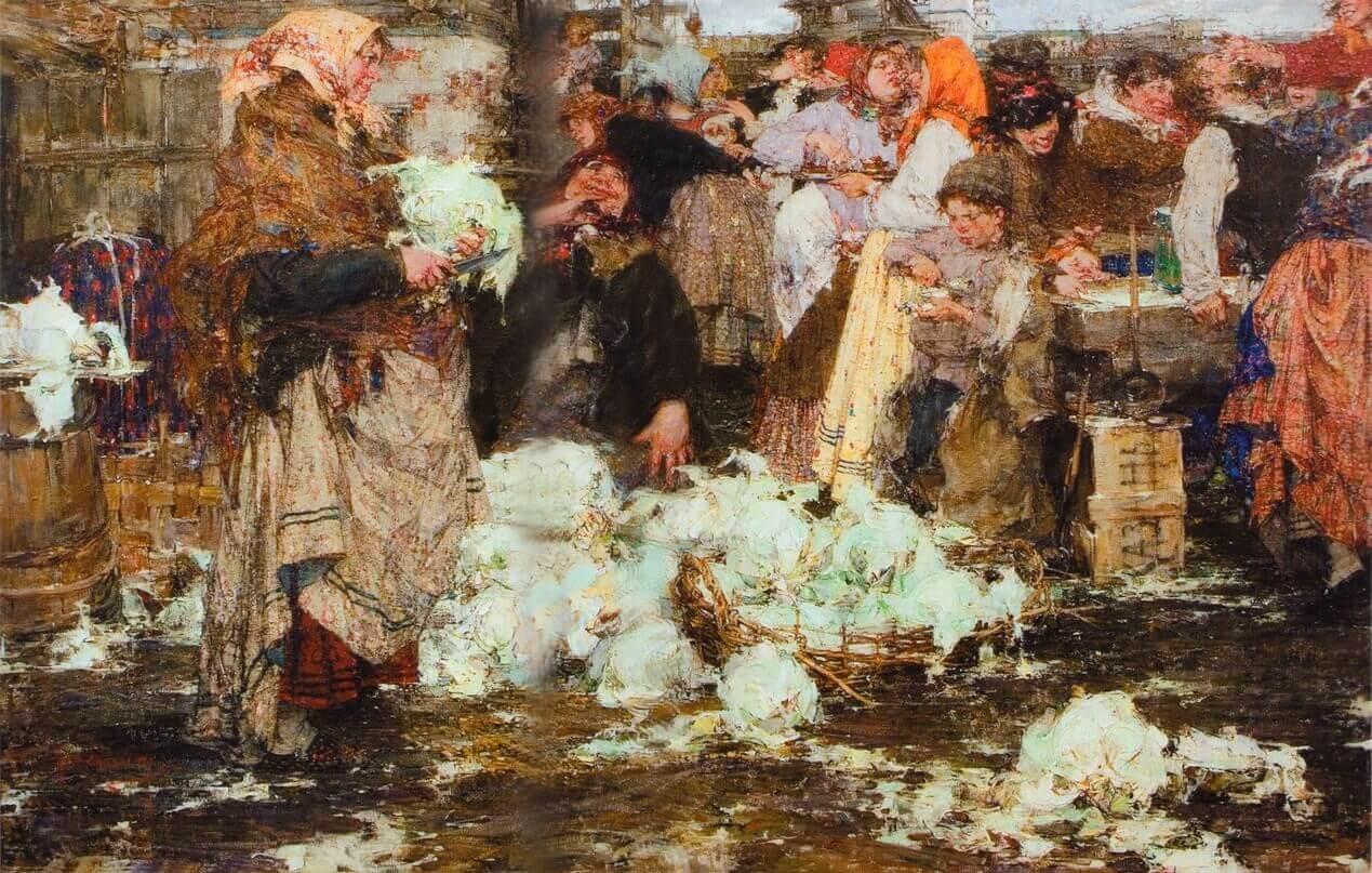 Капустница. Картина Николая Фешина. 1909 г.