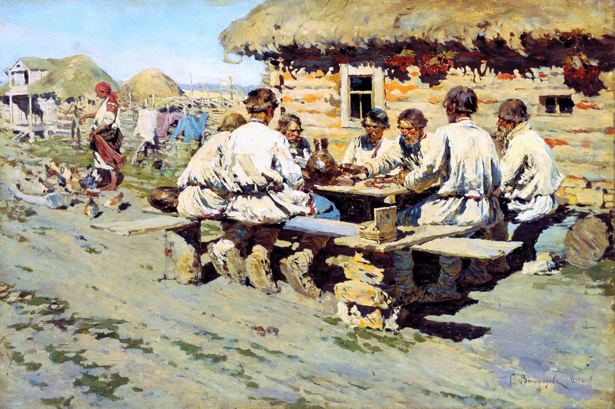 Обед работников. Картина Сергея Виноградова. 1890 г.