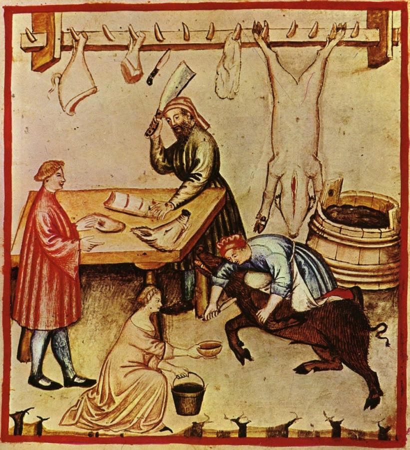 Сцена, изображающая мясника 14-го века за работой. В постные дни нельзя употреблять продукты животного происхождения