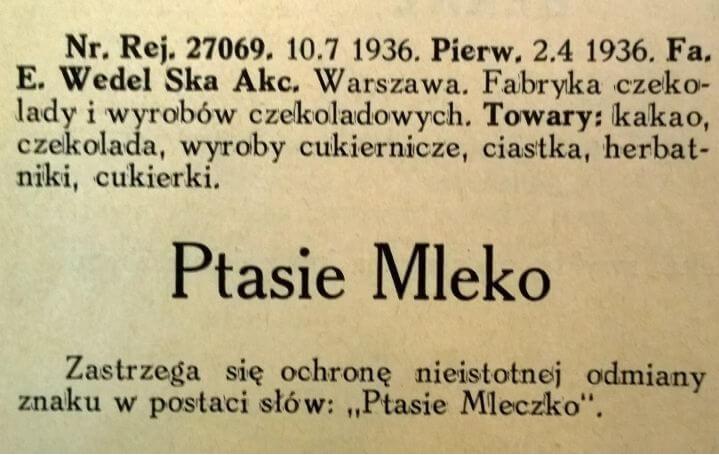 """Новости патентного ведомства - информация о торговой марке """"Ptasie Mleczko"""" (1936 год)"""
