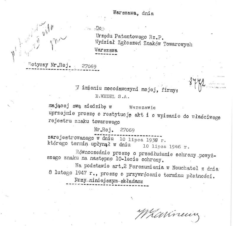 Ptasie Mleczko - архивные документы из Патентного ведомства Республики Польша. Закон о защите товарных знаков действует 10 лет