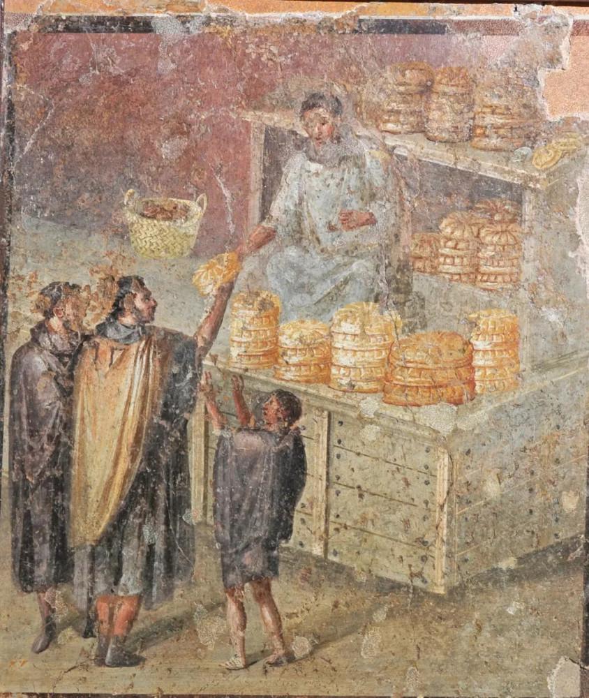 Помпейская фреска. Избиратели обменивают свои голоса на хлеб. © Musée archéologique national de Naples