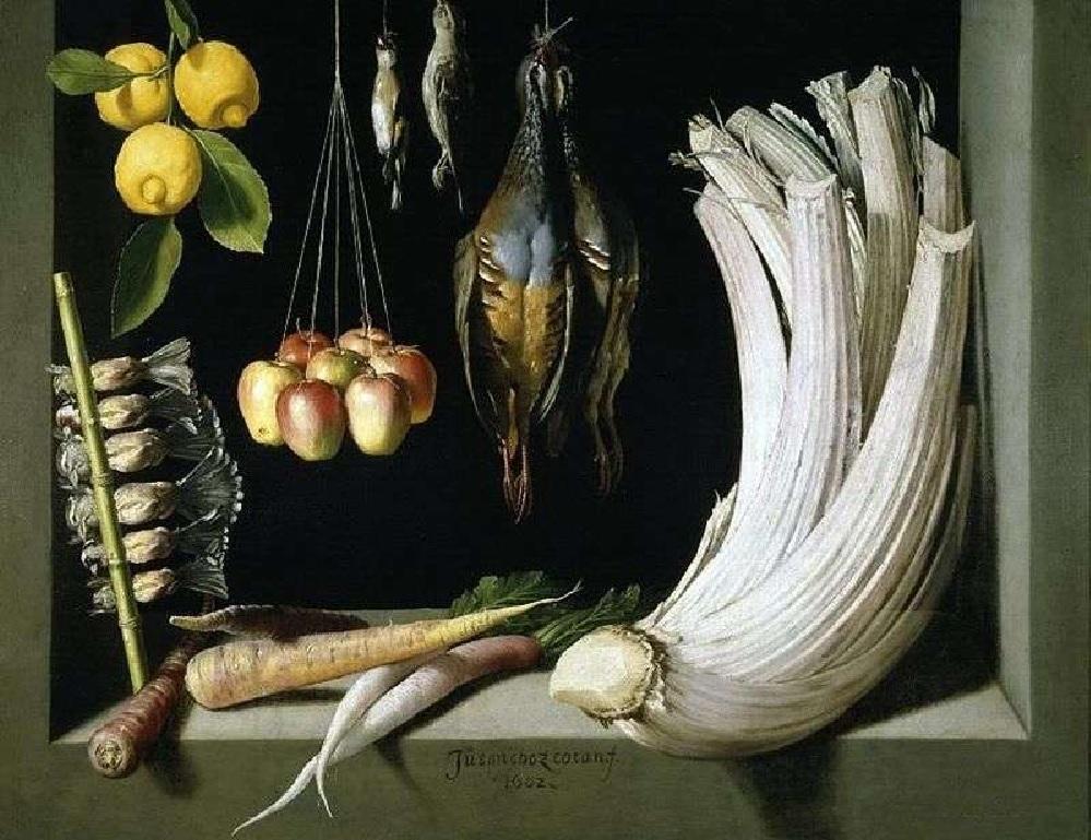 Хуан Санчес Котан, «Натюрморт с дичью, овощами и фруктами» (кардон – справа), 1602 г., Музей Прадо