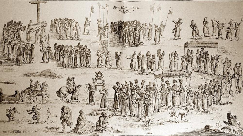 Московитская процессия. Гравюра из книги Адама Олеария о его путешествии в 1636 г