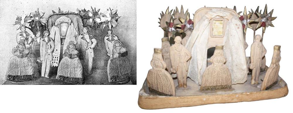 ''Пряница ростовская''. Слева - фото оригинала 1890- годов. Справа - пряник 1926 г. (по образцу 1890-х гг.)