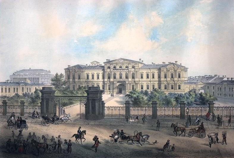 Императорский Пажеский корпус (бывший Воронцовский дворец), Санкт-Петербург. Литография по рисунку И. И. Шарлеманя