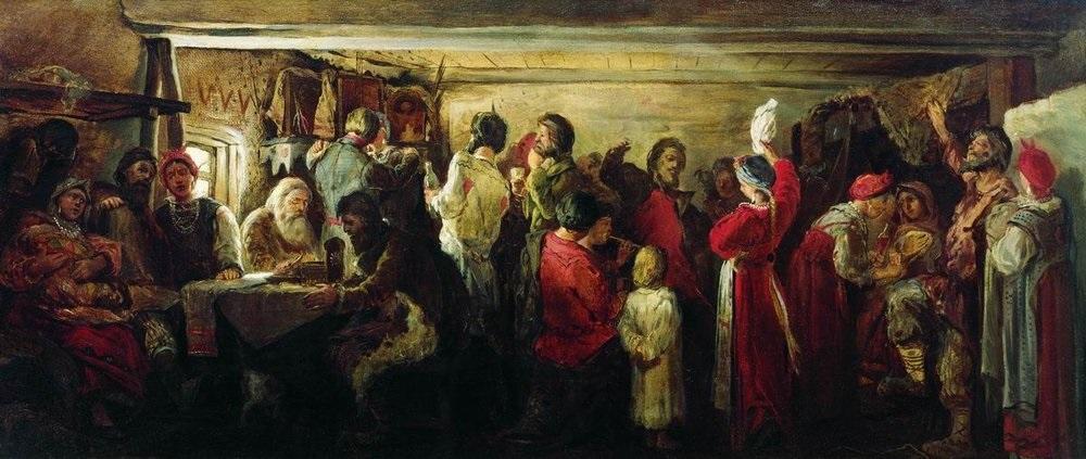 Рябушкин А. Крестьянская свадьба в Тамбовской губернии (1880)