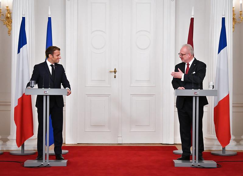 Президенты Франсиха Эмануэль Макронс и Эгилс Левитс