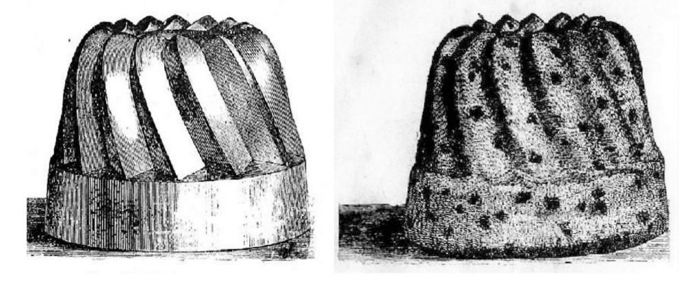 «Польская баба» — форма и готовое изделие. Рисунок из книги Зеленко П. М. Поварское искусство (СПб., 1902).
