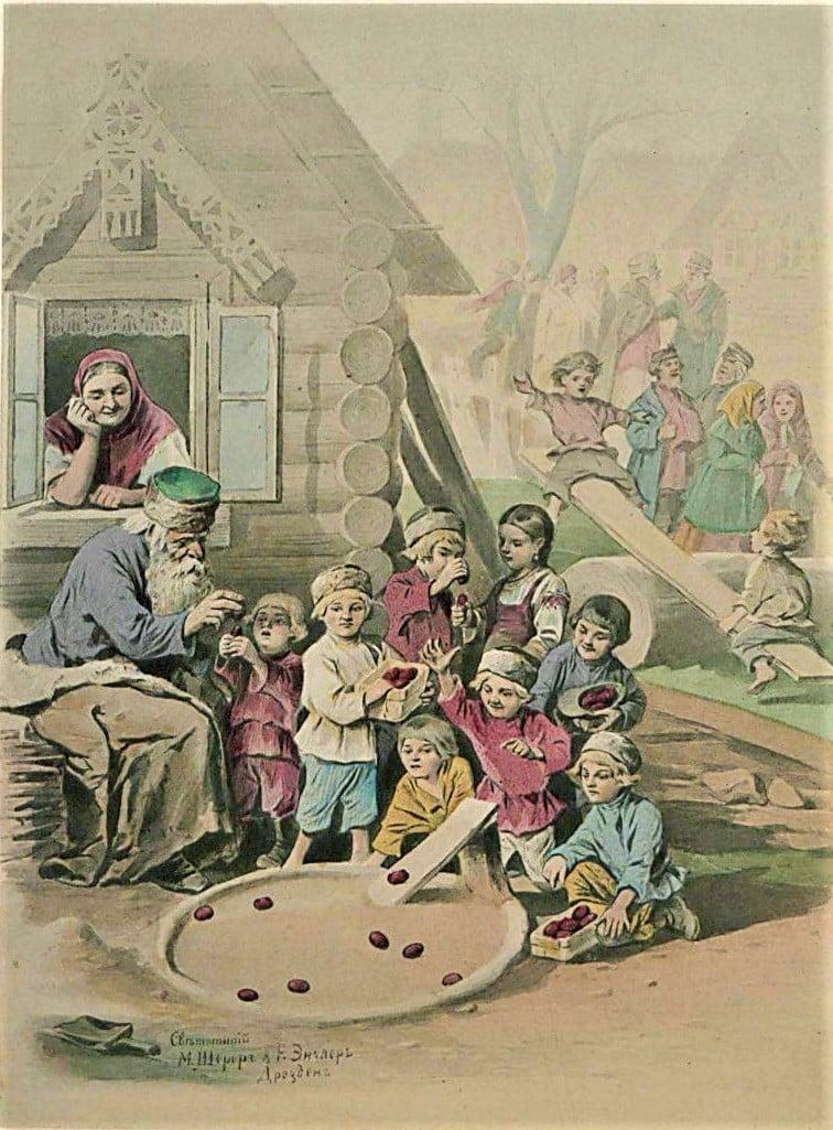 Дети катают яйца на Пасху. Светописные раскрашенные оригинальные картины Шерера и Энглера (1882).