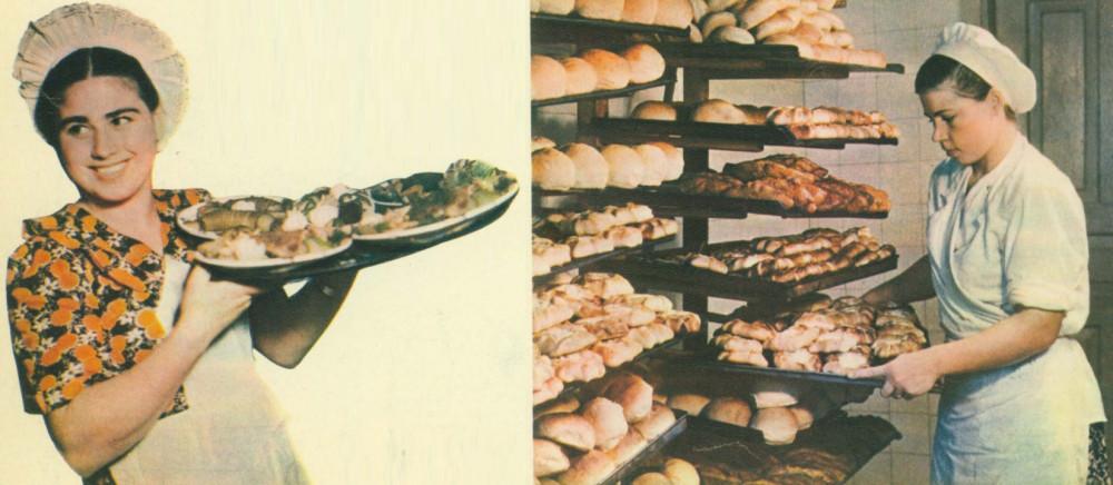Официантка Галина Козак (столовая рудника «Большевик») и повар Ефросинья Куртия (рудник им.Серго Орджоникидзе)