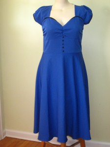 Blue w/ black Trim pin-up (discontinued color/combo)  style rockabilly/jive retro 50's style sweet heart neckline  $65 shipped  Additional photos available via PM. puffed sleeves & gathered bodice  poly knit.  Bust 42 inches.  Waist 36 inches.  Hips free.  Length 43 inches