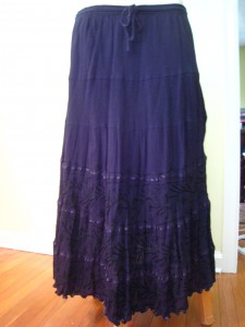 "EUC 2X Black Gauze Broomstick 100% cotton skirt w/ ribbons & embroidery  15$ shipped Waist (elastic & drawstring) flat 19 1/2 inches (unstretched) 26 inches stretched Length 35 inches. Hips 32 inches flat.   ""Sand and Sun"" brand  Additional photos available via PM."