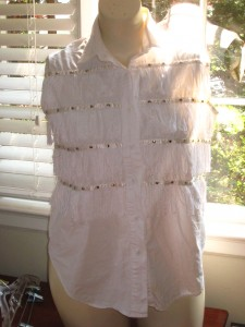 "White Fringe button down shirt 100% cotton ""Copyright 1994"" brand KZK Large label says Large, see measurements $15 shipped 21 1/2"" from armpit to armpit flat 27"" long from shoulder to bottom hem"
