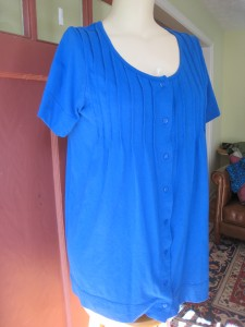 Romans (tags have been removed)  Beautiful  Blue button-up Tunic/ Short sleeves EUC cotton knit Bust 21 inches flat Hips 26 inches flat $15 shipped  additional pics upon request