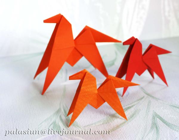 оригами лошадка