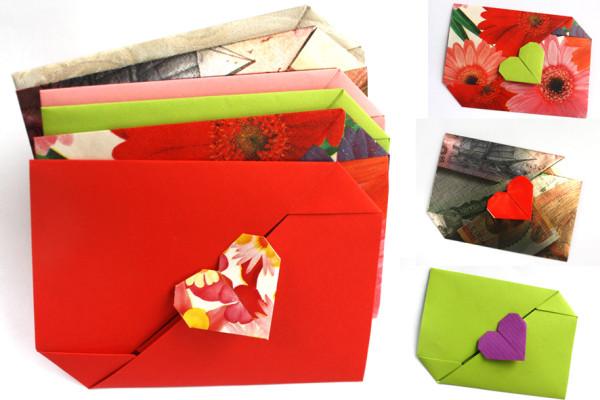 оригами конверт валентинка