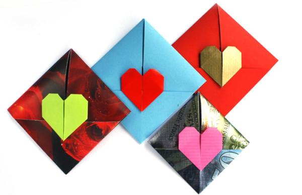 оригами конверт валентинка сердечко