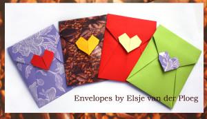 оригами, конверт, валентинка, сердечко, Elsje van der Ploeg