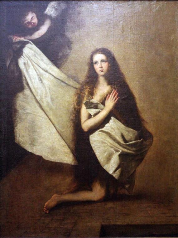 """Хосе де Рибера """"Святая Инесса и ангел, укрывающий её покрывалом"""""""