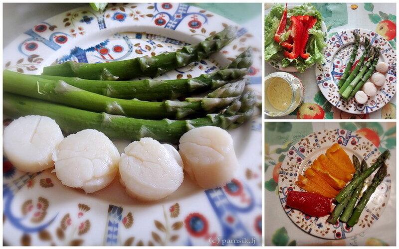 Для разнообразия – морепродукты.: спаржа с морскими гребешками. Соус (в баночке) типа майонеза делала сама и очень быстро: оливковое масло, лимонный сок, ложка горчицы, свежее яйцо и вжик миксером