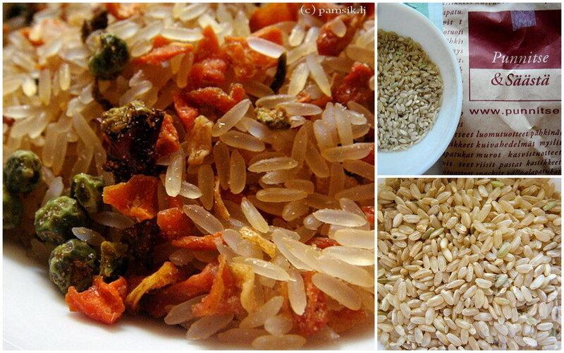 Слева на фото – смесь риса с сушеными овощами. Справа – и есть нешлифованный рис, вот так он выглядит