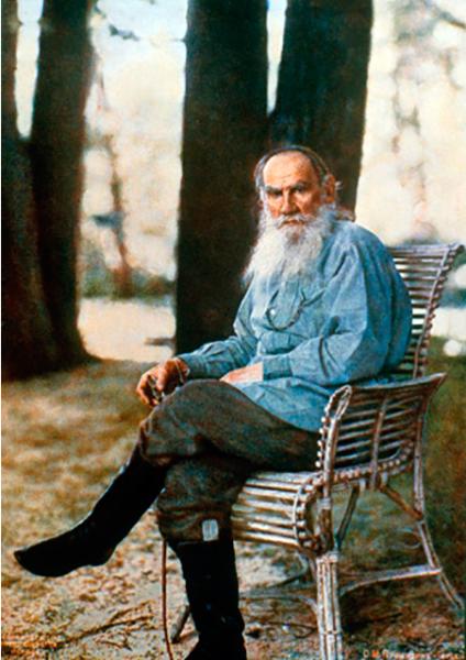 Only known color photograph Leo Tolstoy Yasnaya Polyana 1908 Prokudin-Gorsky