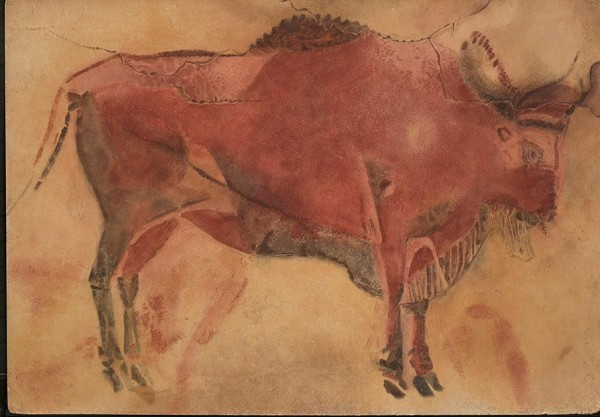 Standing female wisent. Spain, Cantabria, Altamira, 16,000-14,000 BC  Frobenius Collection Watercolour by Elisabeth Charlotte Pauli, 1936, 69 x 100 cm