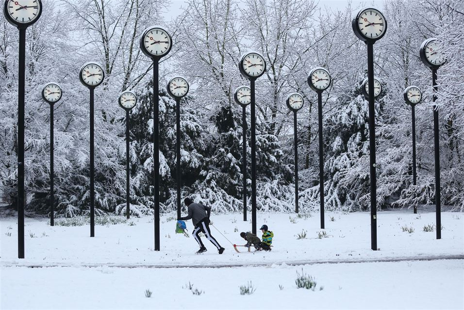 24 Station Clocks sculpture