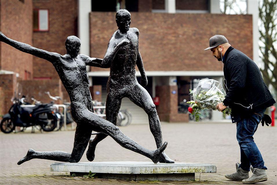 Statue of Johan Cruyff Olympic Stadium in Amsterdam