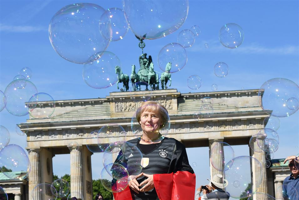 Wax Merkel dressed with a Euro 2016 Soccer