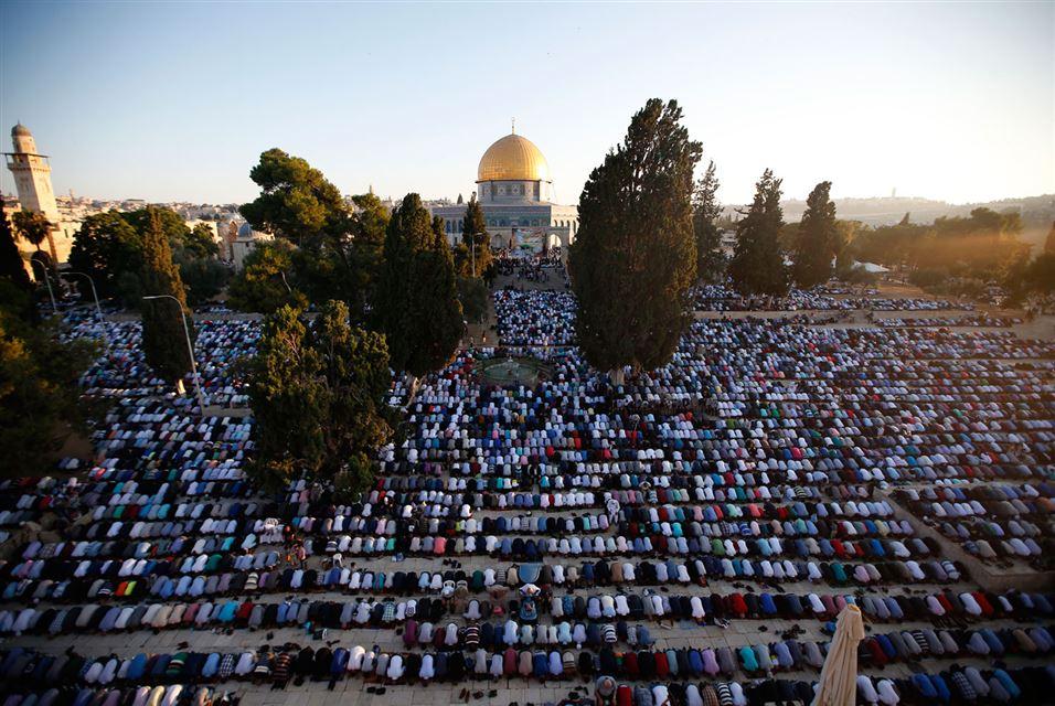 Morning Prayer. Al-Aqsa Mosque , Jerusalem. July 6, 2016.