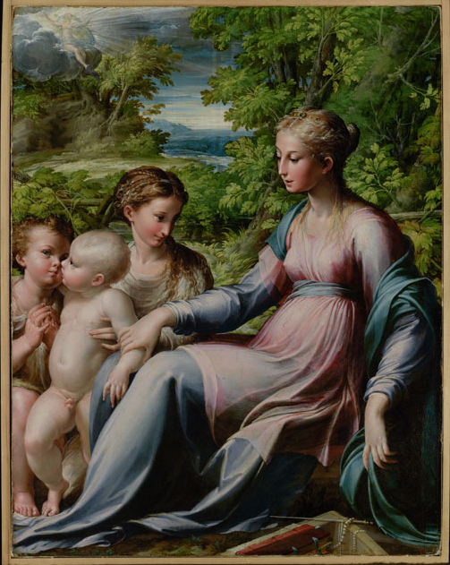 Virgin with Child, St. John the Baptist, and Mary Magdalene (about 1530-40) by Parmigianino