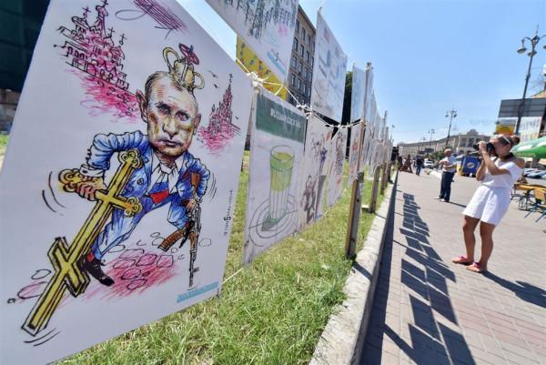 open-air exhibition Ukrainian cartoonist, architect and journalist Oleh Smal,  Kiev