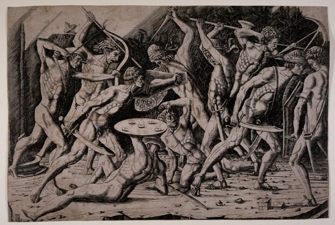 After Antonio Pollaiuolo, Battle of Ten Nudes 1475-1500 Engraving