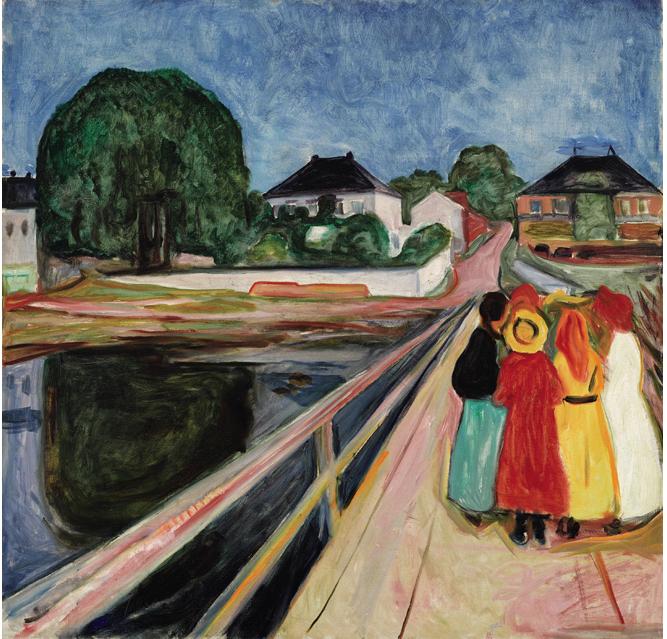 Edvard Munch, Girls on the Bridge. 1902. Oil on canvas, 101 by 102.5 cm