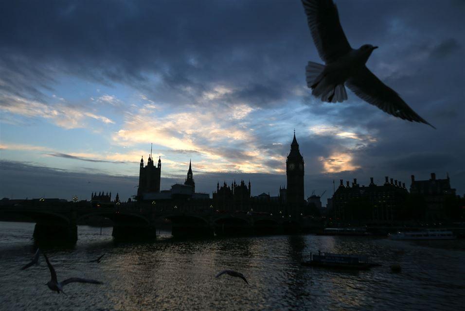 Sun sets behind Westminster