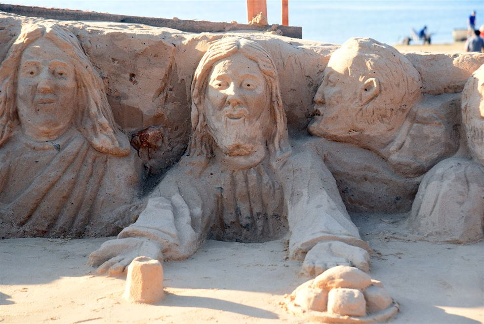 Sand Sculpture Last Supper, Holy Week Celebr in Asuncion, Paraguay