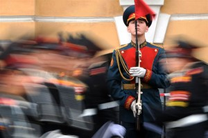 Russian cadets of the Suvorov military school parade on September 1, 2014 in Saint-Petersburg
