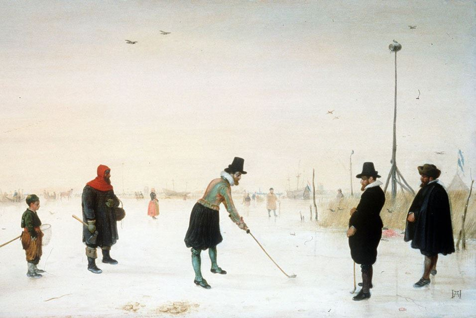 Ice Scene with Golfers by Hendrick Avercamp (January 27, 1585 (bapt.) - May 15, 1634 (buried))