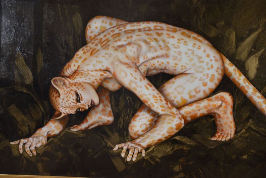 Artist Olivia De Berardinis, american, b. 1948- to complete this 78 x 40-inch acrylic-on-canvas painting titled Carnivore I.
