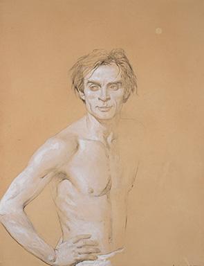 Jamie Wyeth (American, born 1946), Half Smile, Nureyev (Study #20), 1977