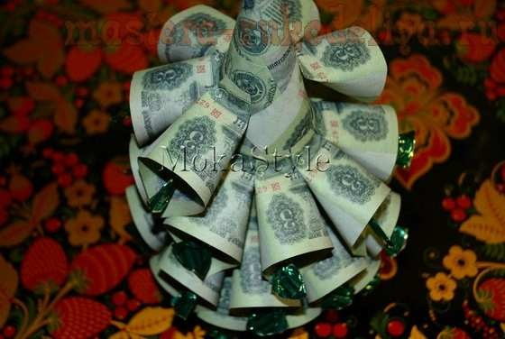 елка из денег и конфет