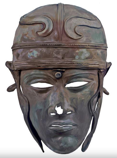 Шлем типа Вайзенау с маской (тип Калькризе). Бронза, середина I в. н.э. Нью-Йорк, Коллекция Леона Леви и Шелби Уайт. Инв. № 686 (рисунок А.Е. Негина)