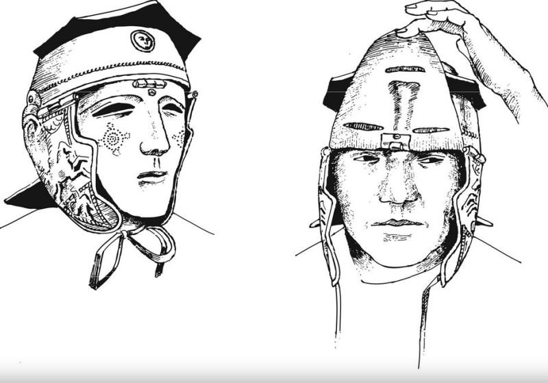 Реконструкция шлема с маской тип Калькризе (рисунок А.Е. Негина)