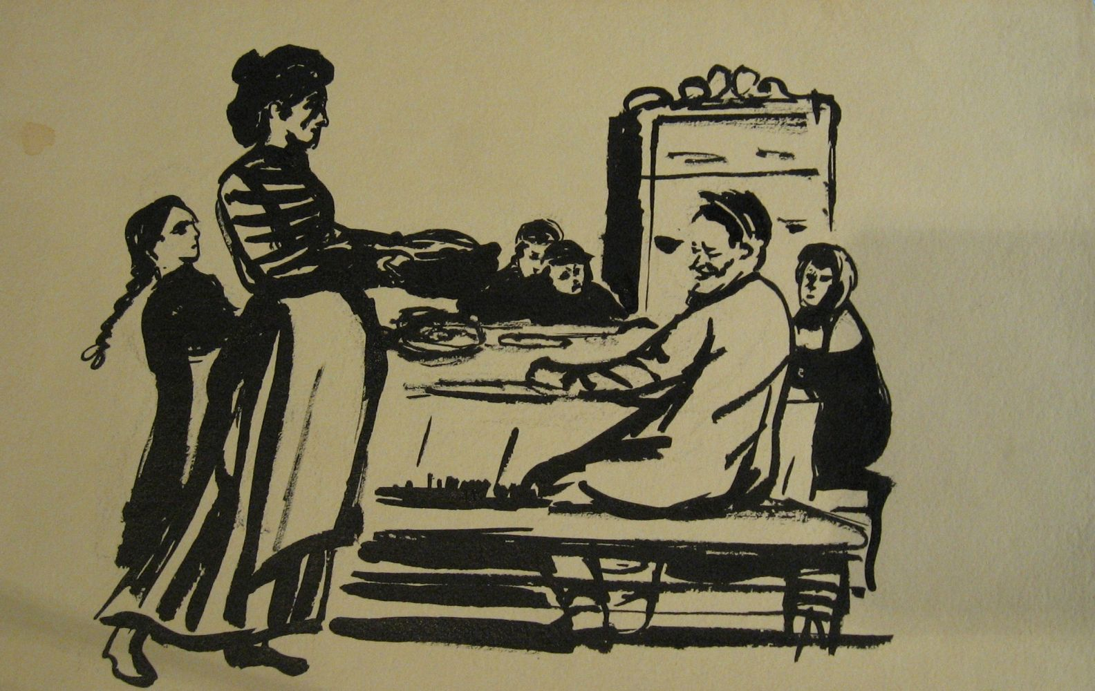 М.Аксельрод. Семья за столом, бум.т., 1930-е