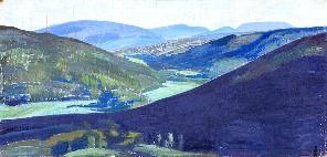 053_01 Рерих Н.К. Долина Тулола. Фанера, м. 25,8х56. 1918. 111